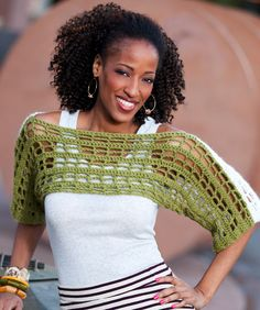 Two-Tone Shrug: Of course, you can crochet this in just one color, but using two tones gives this shrug a bit of drama. Wear it in the summer over a tank top or sleeveless dress and over long sleeves in the winter. This free pattern was designed by Double Stitch Twins, and is available at RedHeart.