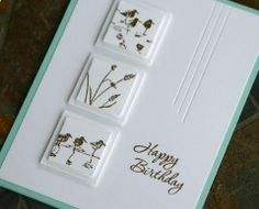 Wetlands stamp set -- one of my favorites! Love the framed vignettes on this birthday card, which could work for male or female recipients.