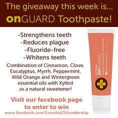 Do you want to #win a tube of #doTERRA On Guard toothpaste? Go to our Facebook page to enter!  https://www.facebook.com/photo.php?fbid=229048083923073&set=pb.189242101237005.-2207520000.1383683156.&type=3&theater *The winner will be selected by a third party on Friday, November 8th 2013.