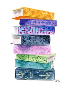 Classic Book Stack  Watercolor Illustration Art by KaraEndres