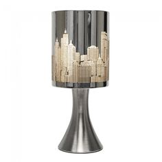 Trumpet Black Base New York Skyline Touch Table Lamp