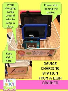 Use a dish draining rack as a charging station. | Use a dish draining rack as a charging station.