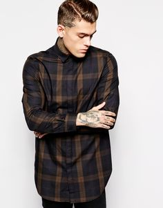Asos Shirt In Super Longline With Large Check in Black for Men | Lyst