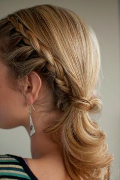 Pony Braid Hairstyles with bobby pins