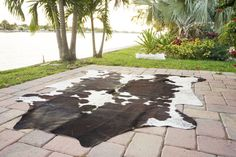 Black and White Rodeo cowhide rug 5X6.7426 by RodeoHides on Etsy