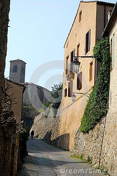 Photo taken in Arquà Petrarca, one of the most beautiful towns in Italy, where the poet which took its name and heritage Unesco from 2011 through the hills in the province of Padua in Italy. In the picture you see, in the foreground, a beautiful city walls built with blocks of stone covered with a climbing plant. In the photo right is the side of light color of a house, a street lamp and down the narrow street to the castle tower in the blue sky.