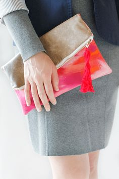 """The concept for this clutch has been tumbling around in the back of my mind  for months. It all started when I stumbled across Leah Singh's line of  cute, colorful clutches, and then it took off like a goosed duck from  there. I was so enamored with her playful patterns and cheerful colors that  I wanted to create something similar myself.  Since I'm not quite a whiz at embroidery just yet (although I did do quite  a bit of """"investigative research"""" on Pinterest) I decided to stick with ..."""