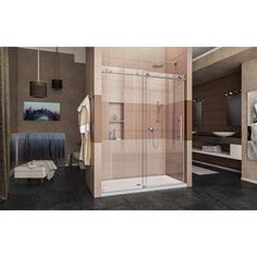 DreamLine Enigma-X 56 to 60 in. x 76 in. Frameless Sliding Shower Door in Brushed Stainless - The Home Depot DreamLine Enigma-X 56 to 60 in. x 76 in. Frameless Sliding Shower Door in Brushed Stainless - The Home Depot Framed Shower Door, Bathroom Shower Doors, Frameless Sliding Shower Doors, Glass Shower Doors, Bathroom Ideas, Corner Shower Enclosures, Shower Door Hardware, Brushed Stainless Steel, Home Staging
