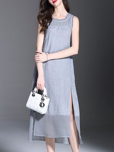 Gray Casual Crew Neck Asymmetric Midi Dress