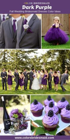 Dark purple bridesmaid dresses color ideas with green for fall wedding 2019 good with flower girl dress in purple table flower decorations and desserts in weddings. Dark Purple Bridesmaid Dresses, Dark Purple Dresses, Fall Wedding Bridesmaids, Plum Wedding, Fall Wedding Colors, Bridesmaid Color, Wedding Wallpaper, Table Violet, Purple Flower Girls