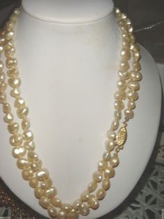 """Pearls 30"""" necklace silver clasp #Unbranded #StrandString"""