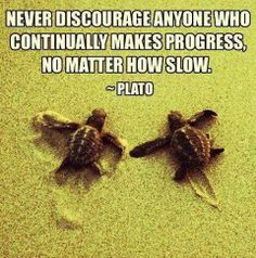 never discourage anyone who continually makes progress, no matter how slow .  plato