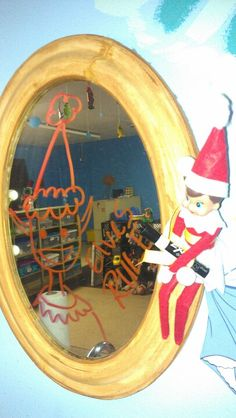 Elf on the shelf: Elves rule! Class Room, Shelf Ideas, Elf On The Shelf, Shelves, Mirror, Home Decor, Classroom, Shelving, Homemade Home Decor