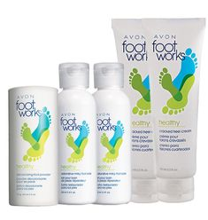Collection includes:  2 Foot Works Healthy Cracked Heel Creams Bonus Size  Provides first-aid relief for dry, cracked skin, and contains soothing lidocaine for added pain relief. Each, 2.5 fl. oz.  Foot Works Healthy Deodorizing Foot Powder  Provides 24-hour odor and wetness protection. 2.6 oz. net wt.  2 Foot Works Healthy Restorative Milky Foot Soaks  Enriched with milk protein and Epsom salt. Each, 3.4 fl. oz.  Collection $9.99