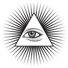 All Seeing Eye Pyramid on White Background vector art illustration