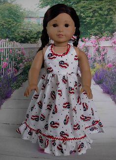 Patriotic Maxi Dress fits American Girl Doll by WeeWhimzyWardrobe American Girl Crafts, American Doll Clothes, Ag Doll Clothes, American Dolls, Doll Clothes Patterns, Patriotic Dresses, Patriotic Outfit, Ag Dolls, Girl Dolls