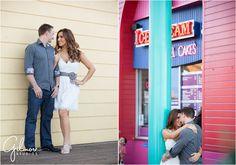 Jessica & Brett's Engagement Photography Session - Santa Monica Pier - Los Angeles, CA - boardwalk, ferris wheel, carnival, ride, games, beach, formal, dress, suit, couple, engaged, sunset, silhouette, GilmoreStudios.com