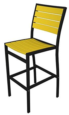 46 EarthFriendly Recycled Patio Bar Chair  Lemon Yellow with Black Frame *** Check this awesome product by going to the link at the image.
