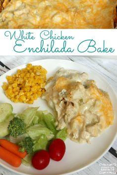 This White Chicken Enchilada Bake Recipe is an EASY Dinner Recipe for Fall!