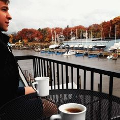 Instagram friend @shell_bee_g enjoys her morning tea with a friend along the Black River in #SouthHaven! #PureMichigan #autumn
