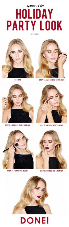 We're Still Totally Into Fire-Hued Makeup, So Here Are 3 Party Looks to Try Now A stunning holiday party makeup tutorial to try now (via Byrdie Beauty) Glowy Makeup, Diy Makeup, Makeup Tips, Beauty Makeup, Hair Beauty, Beauty 101, Beauty Hacks, Beauty Style, Party Looks