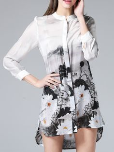 Buy White SheIn Casual dress for woman at best price. Compare Dresses prices from online stores like SheIn - Wossel United States Floral Skater Dress, Floral Shirt Dress, Casual Day Dresses, Girl Fashion, Fashion Design, Fashion Clothes, Cheap Dresses, Vintage Outfits, Dress Online