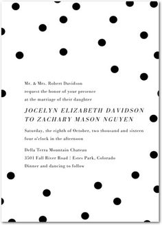 Dotted Beauty - Signature White Wedding Invitations - Tallu-lah - Black : Front