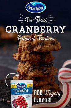 These are THE BEST Cranberry Oatmeal Cookies you& ever eat, made with Craisins® Dried Cranberries! They& easy to make and easy to love thanks to simple, healthy, and tasty ingredients. Simply better than Healthy Oatmeal Cookies, Oatmeal Cookie Recipes, Cookie Desserts, Cranberry Cookies, Cranberry Recipes, Fat Bombs, Protein Snacks, Healthy Snacks, Craisins Recipes