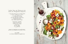 Candied pecan and persimmon herb salad with pomegranate vinaigrette