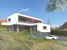 Vue 3D d'une maison Innov'Habitat en ossature bois à haute performance énergétique au design moderne et à l'architecture personnalisée.
