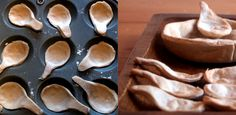 How to make edible bread bowls and spoons: so great for winter soups at parties so theres no dishes to wash, Genius! Appetizers For Party, Appetizer Recipes, Tapas, Yummy Treats, Yummy Food, Bread Bowls, Appetisers, Food Presentation, Scones