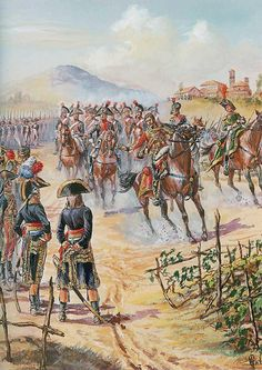 Lasalle returning from Vicenza wearing the uniform of the light cavalry, on an Austrian horse, brings his 'commando' of French cavalry back and reports to Bonaparte