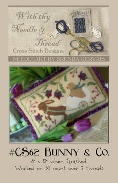 Bunny & and Co. Company : With Thy Needle Country Stitches counted cross stitch patterns Easter April March hand folk art prim embroidery by thecottageneedle