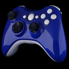 Blue Glossy Shell With White Glossy Trim & Buttons
