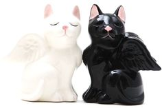 Angelic Cats Collectible Ceramic Salt Pepper Shaker Magnetic H 3.5 in Pacific Trading
