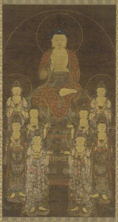 Amitabha and eight bodhisattvas  14th century Goryeo period, Freer Collection