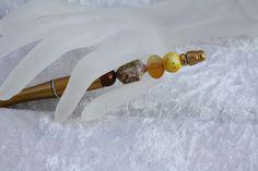 Kugelschreiber - Kugelschreiber gold gelb schreiben braun  - ein Designerstück von trixies-zauberhafte-Welten bei DaWanda