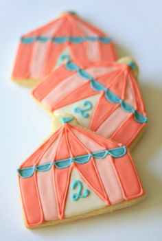 Vintage Circus Tent Sugar Cookies // 1 Dozen // Individually wrapped and and packaged. $48.00, via Etsy.