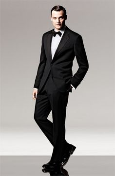 The groom & groomsmen will look smashing in the Armani Collezioni 'Giorgio' Trim Fit Notch Lapel Tuxedo. #LuxBride