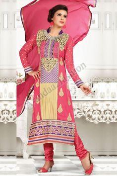 Cream Pink Georgette Churidar Suit with Chiffon Dupatta, Full Sleeve Kameez, Chinese Collar Kameez Designer Kurtis, Designer Dresses, Stylish Suit, Indian Sarees Online, Churidar Suits, Salwar Kameez Online, Suit Fabric, Lehenga Saree, Pakistani Designers
