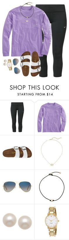 """when the one day u decide to skip practice they have donuts"" by smbprep ❤ liked on Polyvore featuring NIKE, Birkenstock, Kendra Scott, Ray-Ban, Honora and Kate Spade"