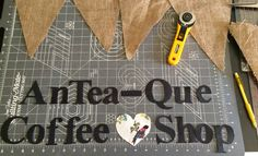 My prep work before making a hessian / burlap bunting for a local coffee shop in Co. Kildare. www.ioftheneedle.ie