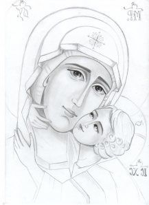 Slăvită fi Preafericită Maria Religious Images, Religious Art, Line Drawing, Painting & Drawing, Catholic Pictures, Christian Artwork, Sketches Of People, Face Sketch, Byzantine Icons