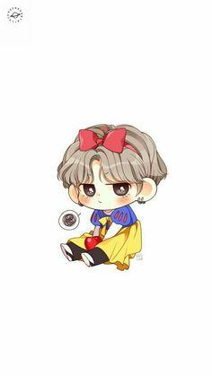 V in snowwhite costume i love dis so much Bts Taehyung, Namjoon, Bts Bangtan Boy, Bts Suga, K Pop, Chibi Wallpaper, Snow White, Bts Boys, Exo