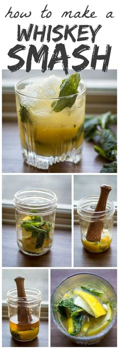 New Years 2016 Was super yummy Tart lemons and fresh mint are muddled with sugar to form the base of this classic Whiskey Smash. Think you don't like whiskey? Think again! Whiskey Drinks, Bar Drinks, Cocktail Drinks, Beverages, Whiskey Based Cocktails, Cocktail Shaker, Burbon Drinks, Disaronno Cocktails, Shot Recipes