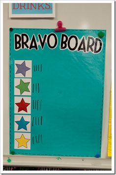 Bravo Board- tables earn 15 points by Friday and they get to learn with their shoes off for the day