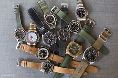 "Howard Kendrick of the LA Dodgers watch collection, find more at https://www.instagram.com/hkendrick47/?hl=en Photo courtesy of HODINKEE. Watches include: Rolex Yatchmaster II in yellow gold, Rolex ""Red Sub"", Rolex ""Pepsi"" GMT, Rolex Submariner with no date, Omega Speedmaster, Omega 55 military watch, Bretling Superocean Chronograph, Jaeger-LeCoultre DeepSea Alarm, Tag Huer Bumdeswehr, and a steel and a gold Panerai."