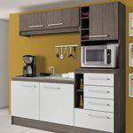 Cozinha Compacta 5 Portas e 4 Gavetas Hannover Sem Tampo Moka/Branco - Decibal | Lojas KD