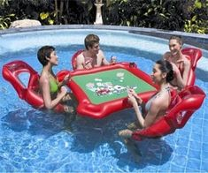 Sturdy, pre-tested vinyl - Get out and enjoy summer with the Bestway Texas Hold'Em Poker Inflatable Pool Set! If you love your game of poker but don't want to leave the pool, this Pool Poker set is for you! Floating Lounge Chairs, Floating Table, Floating Cooler, Crazy Pool, Swimming Pool Games, Poker Set, My Pool, Pool Fun, Pool Water