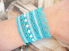 Turquoise micromacrame cuff, Wide bracelet, Cord bangle, Summer trends, Best friend gift, Boho jewelry, Beach wedding theme, Bridal gift. Boho Jewelry, Unique Jewelry, Bangles, Bracelets, Bridal Gifts, Summer Trends, Gifts For Friends, Cord, Turquoise